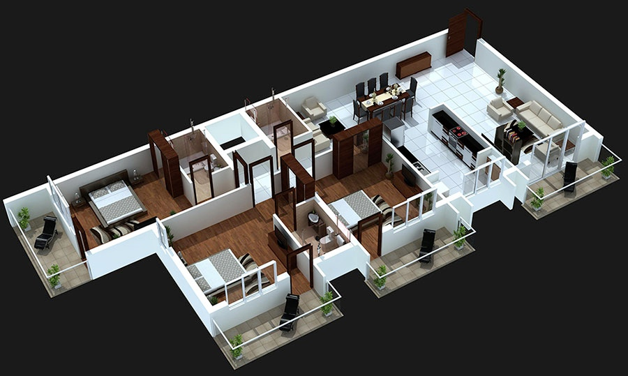 3 bedroom home design plans.  3 Bedroom Apartment House Plans