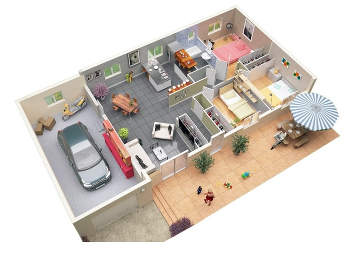 3 bedroom apartment house plans for Turn floor plan into 3d model