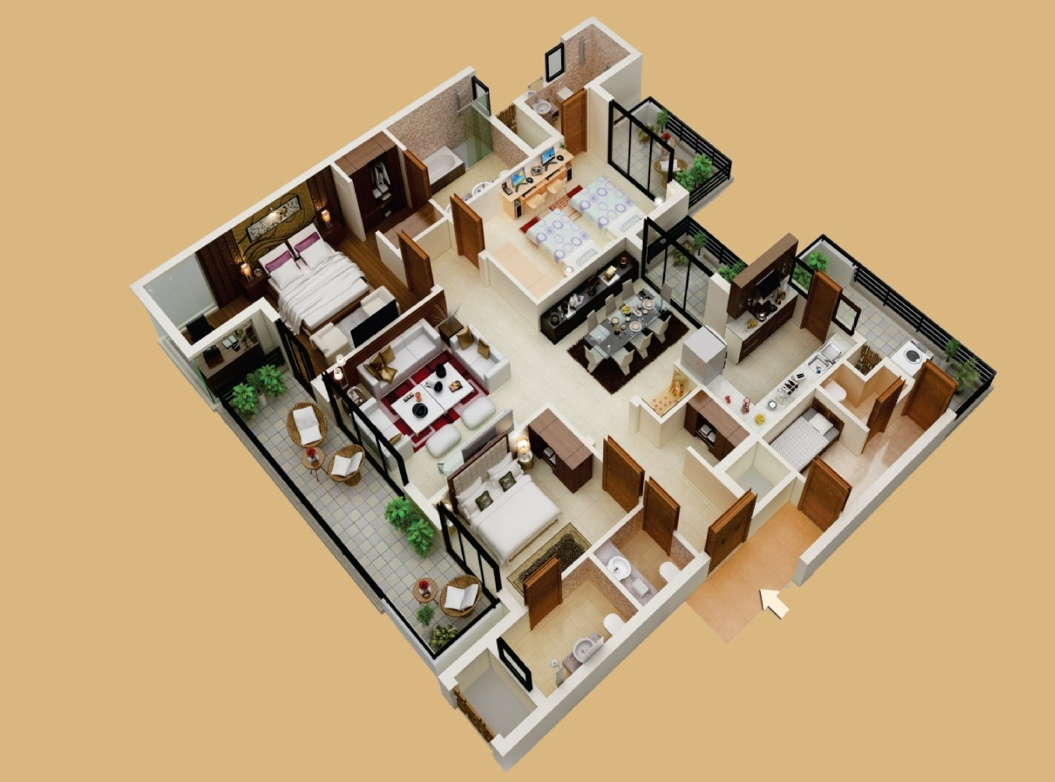 3bhk with servant s room plan interior design ideas for 3d bedroom plan