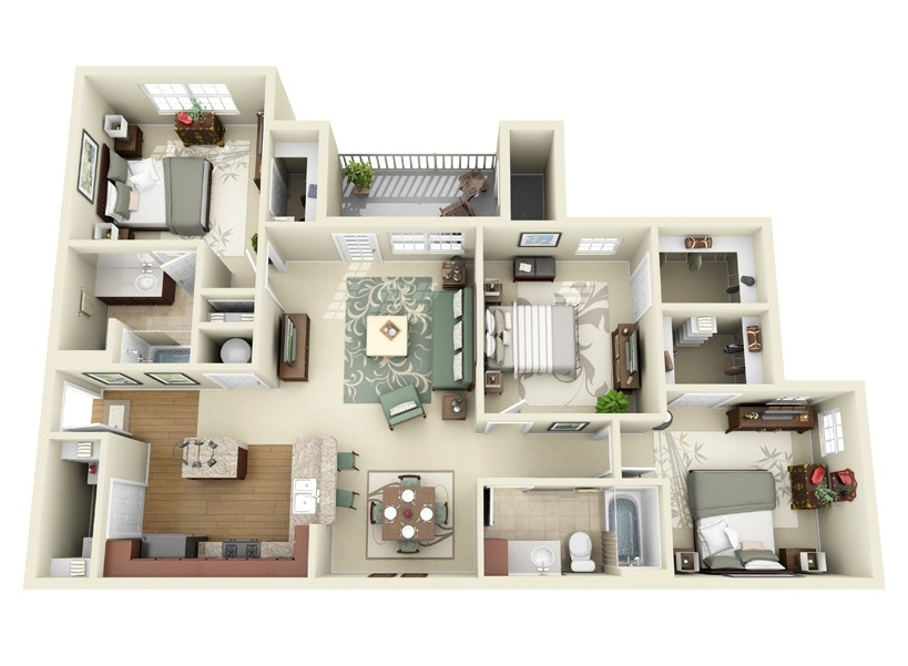 3 bedroom apartment house plans for Apartment design map