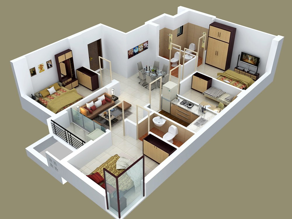 4 bedroom apartment house plans for Apartment design 3d