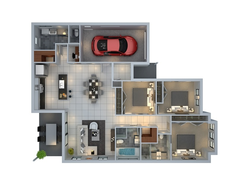 3 bedroom apartment house plans 3d building design