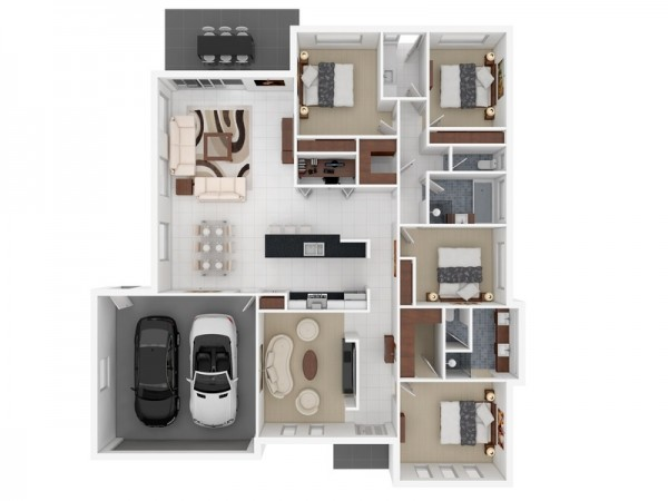 4 Bedroom Apartment-House Plans Image