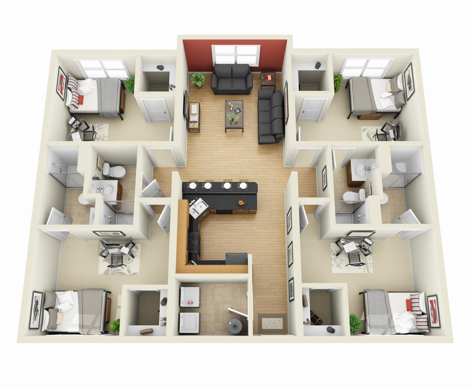 4 bedroom apartment house plans for Four bedroom
