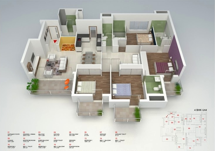 4 bedroom apartment house plans for Four bedroom flat