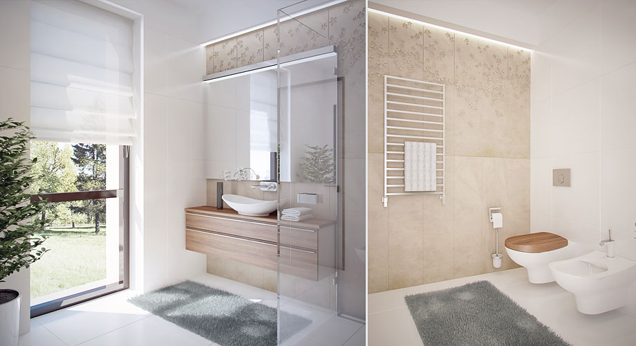 Avant garde apartments feature the latest lines and - Salle de bain beige et bois ...
