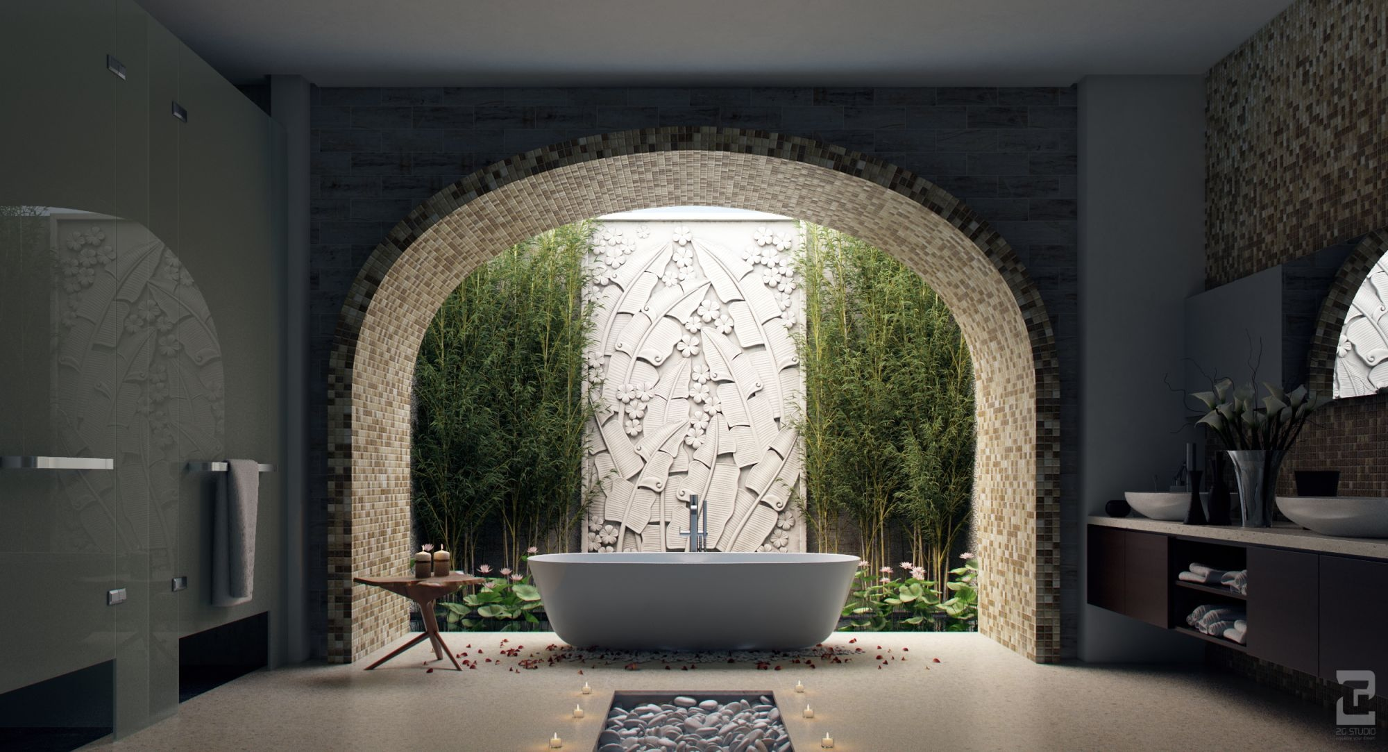 Sunlight streams into bathrooms connected to nature - Salle de bain nature zen ...