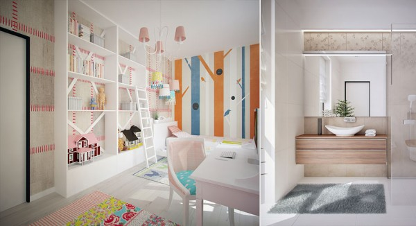 For a younger child, a ladder has been considerately supplied so she can reach the higher shelves and be in control of her own space. A feminine traditional chandelier and workstation chair combine with bolder, more androgynous wall finishes to produce a very individual, eclectic room.