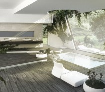 From Valencia, Spain, Cuantico's 3D bath visualization combines a vista of deck and rolling hills with rough-hewn board floors and potted cacti, succulents, a tree, tropical plants and vines, as well as a focal point oculus to let in more natural light, and a sculptural rough stone in the foreground.