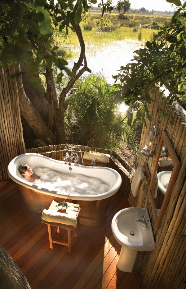 Rustic bath in wetland