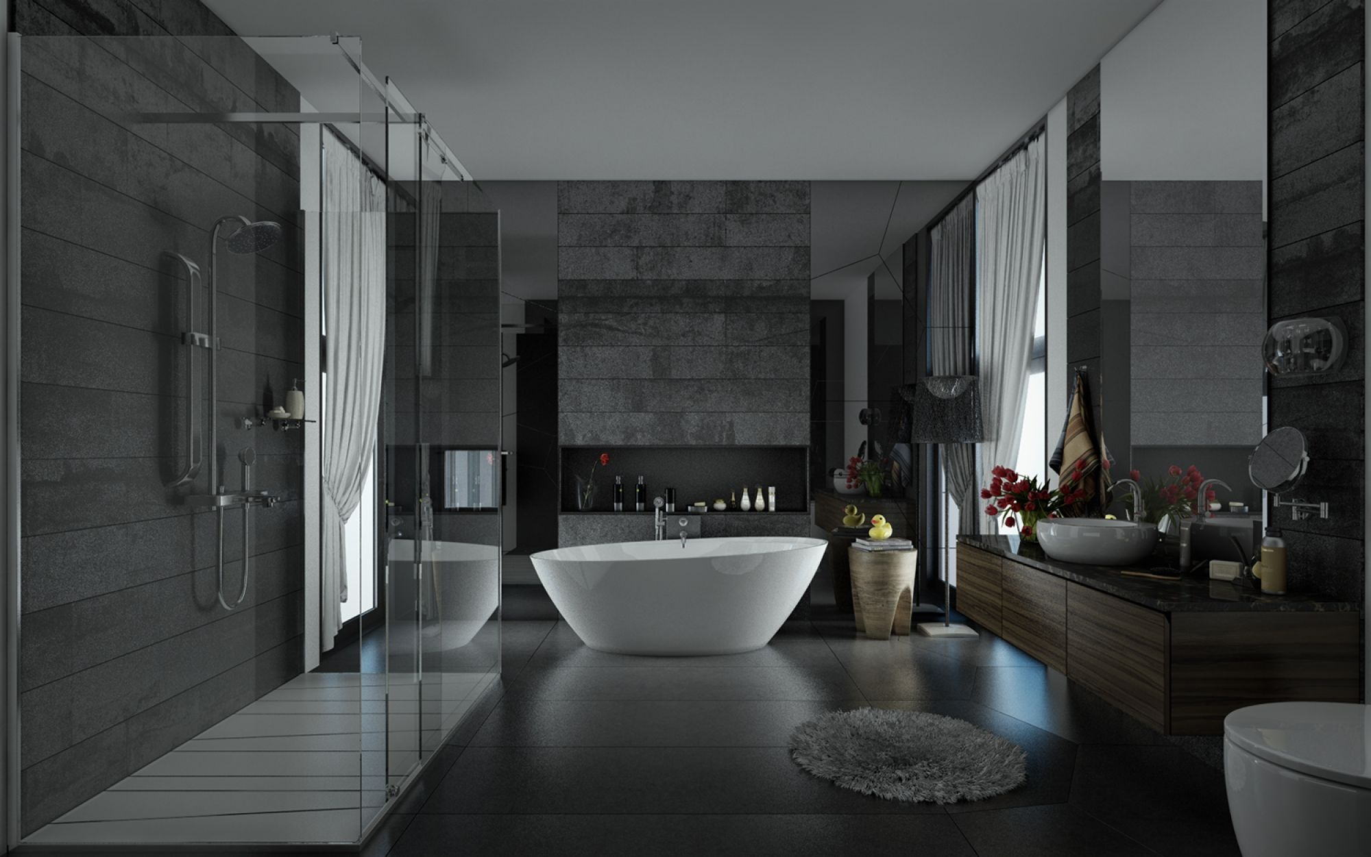Sunlight streams into bathrooms connected to nature for Salle de bain bois gris blanc