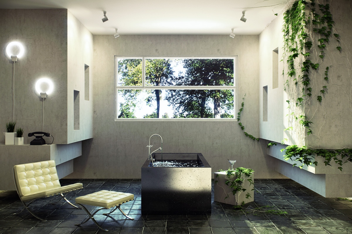 Sunlight streams into bathrooms connected to nature for Bathroom inside design