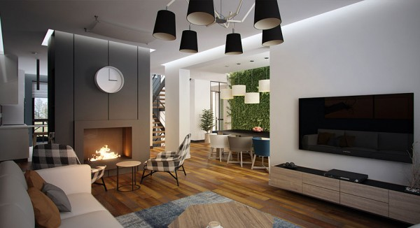 "While clean sparse modernism dominates the 'bones' of the design, Svoya has achieved a warm welcoming feeling by throwing in a little bit of plaid, and using wood plank flooring that looks like it has a long story to tell. Of course, nothing says ""Welcome to the warmth"" like a roaring fire!"