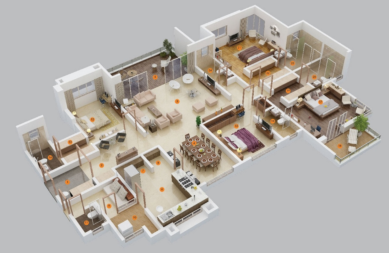 4 bedroom house floor plans 3d - 4 Bedroom House Floor Plans 3d 5