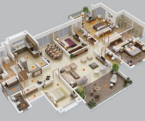 Awesome ... 4 Bedroom Apartment/House Plans