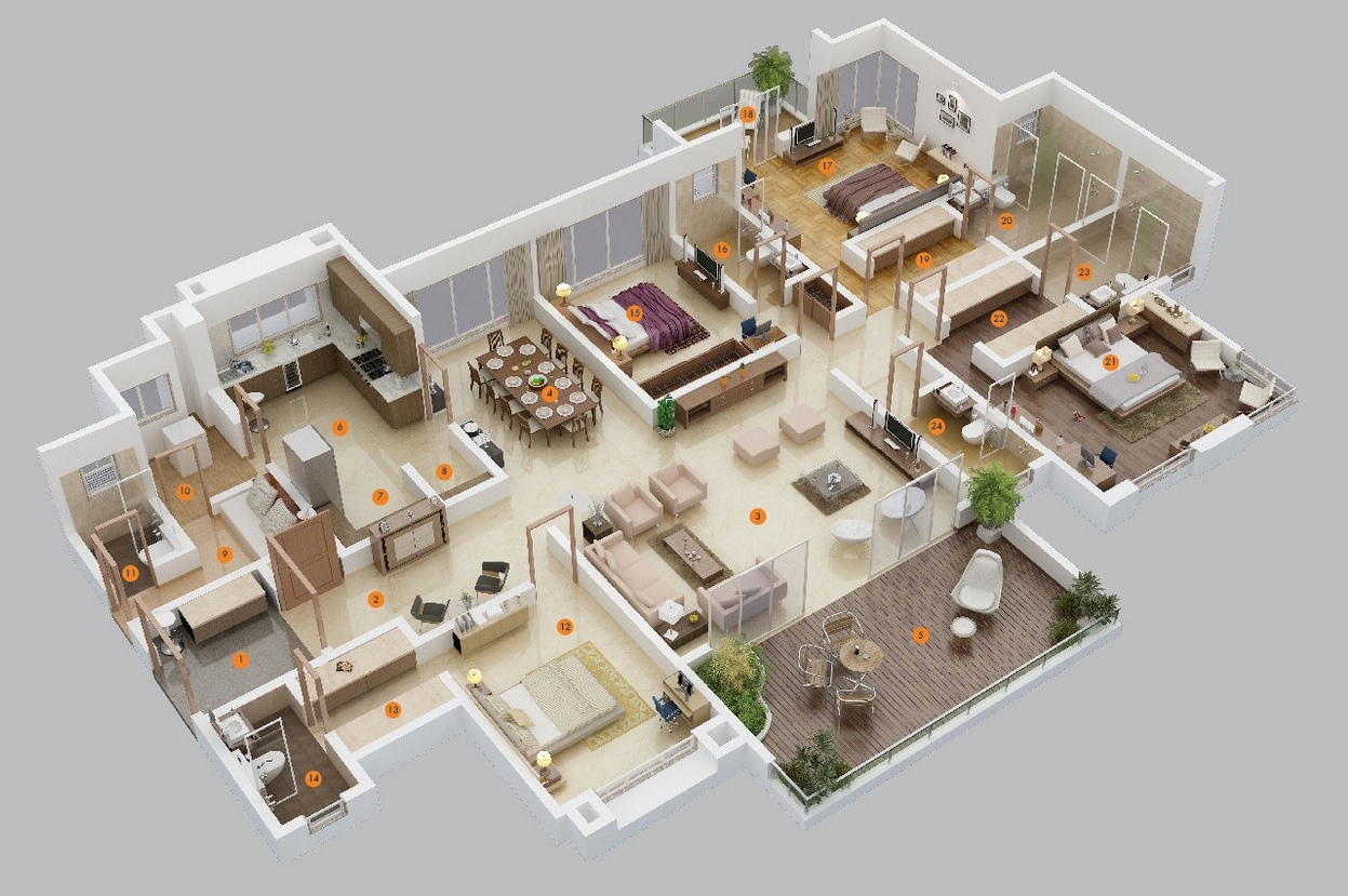 Home Design Plans 25 more 3 bedroom 3d floor plans 4 Bedroom Apartmenthouse Plans
