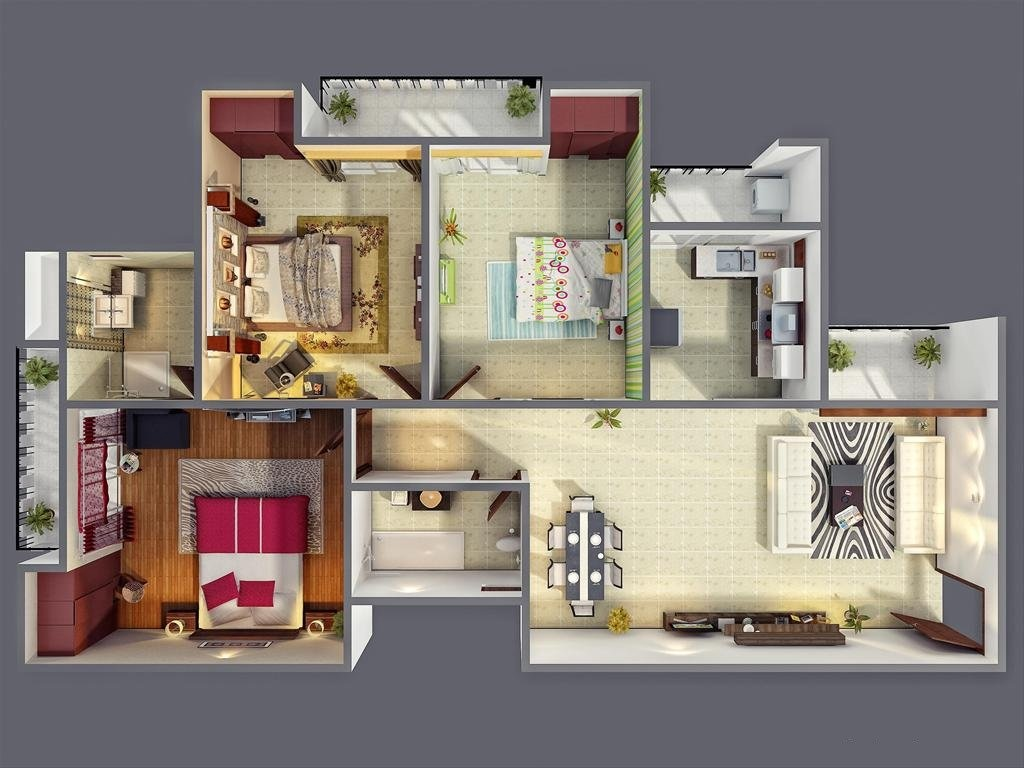 3 bedroom apartment house plans for Three bed