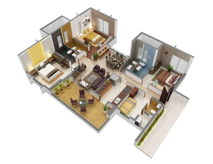 3 bedroom apartment house plans for Beautiful house layouts