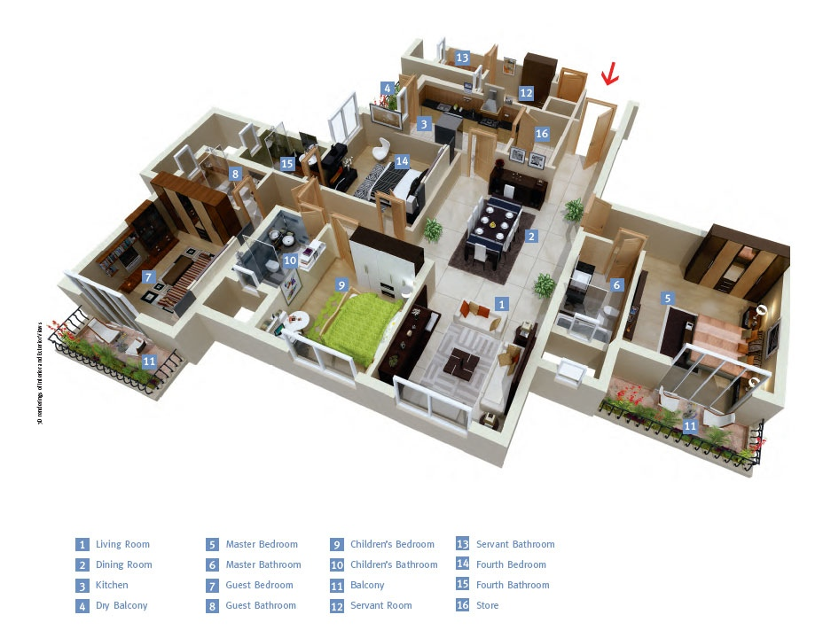 4 bedroom apartment house plans for Typical house layout