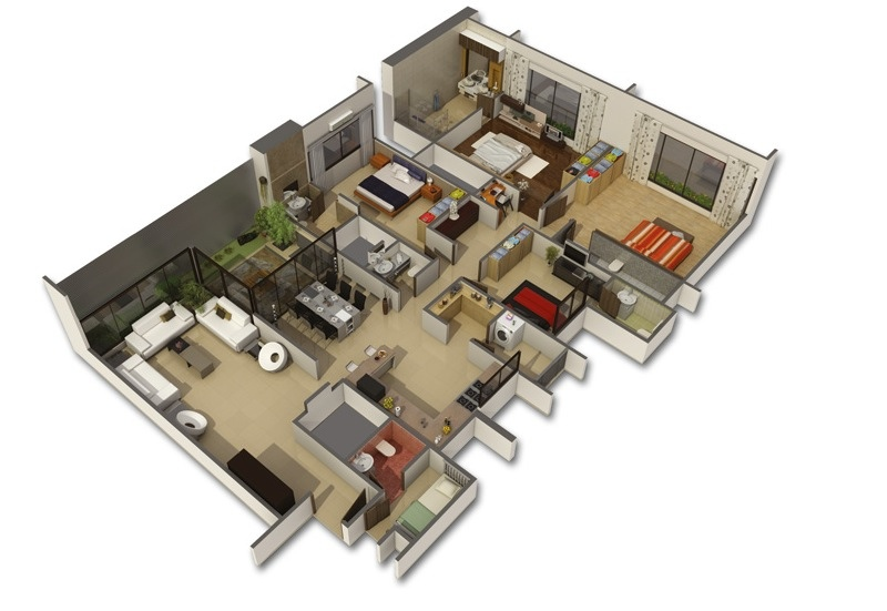 Big house layout interior design ideas for 4 bedroom layout design