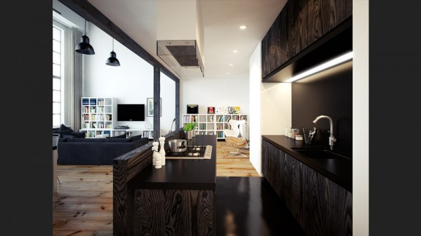 black and whtie loft design
