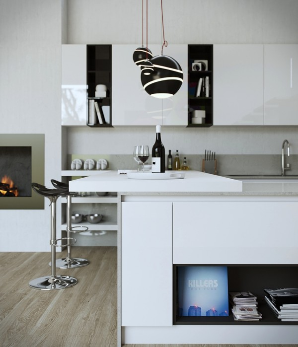 Black and white is always chic as evidenced in this kitchen/breakfast bar space that's perfect for one (or hopefully two).