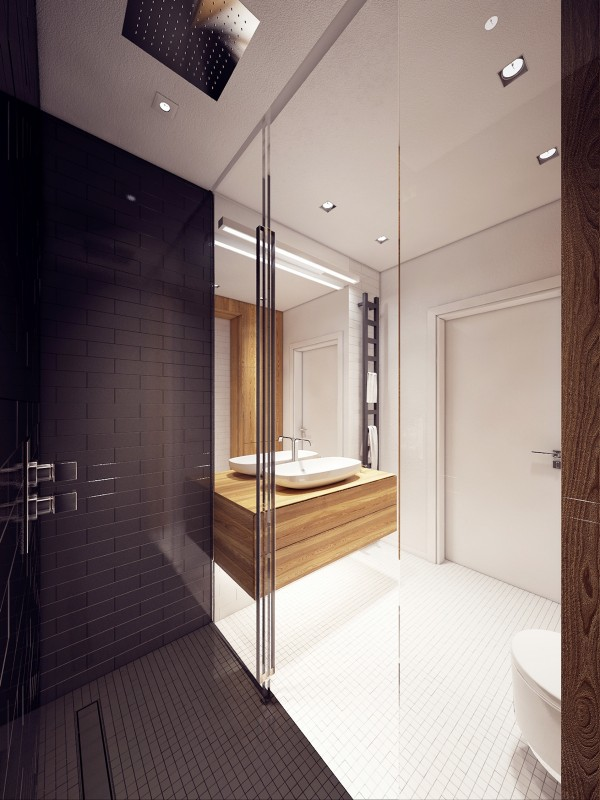 A spacious shower and simple colors mean plenty of room, even if it's not a lot.