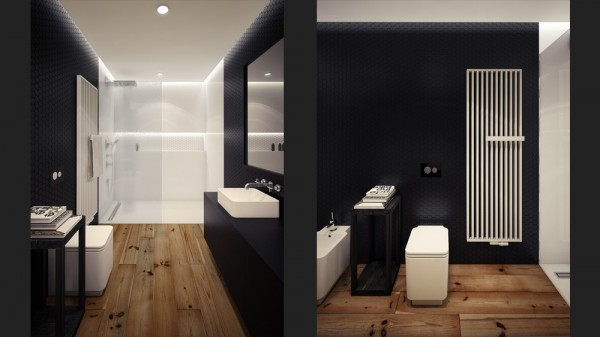 black white loft bathroom