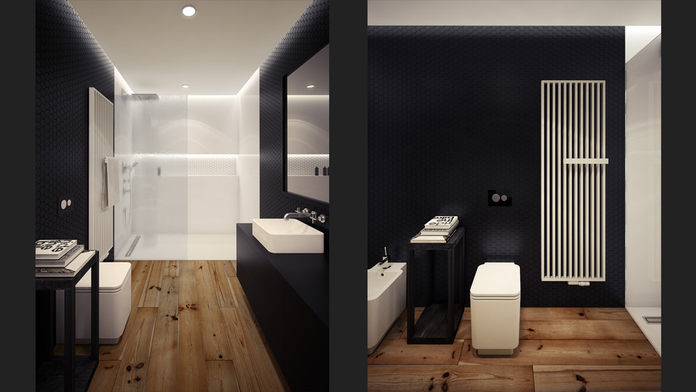 Black white loft bathroom interior design ideas for Bathroom interior design white