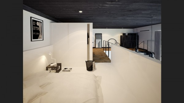 black white loft bedroom