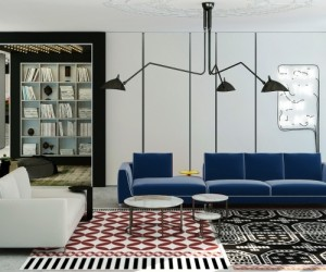 The living room has multiple funky focal points starting with a blue velvet sofa and a mishmash of prints on the rug.