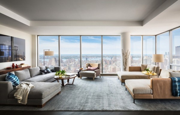 Windows on multiple sides of the main living area give spectacular views of the city.
