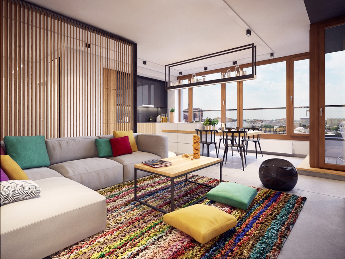Colorful modern apartment design uses space to beautiful effect A sleek apartment the divides rooms creatively
