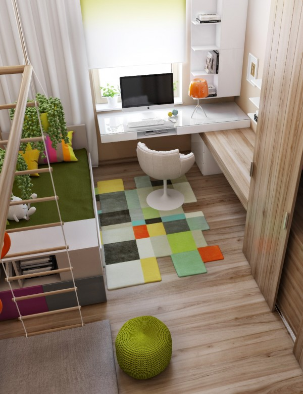 Even the most modern interiors make space for colorful accents in the way of children's rooms, still using muted tones to blend with the rest of the decor.