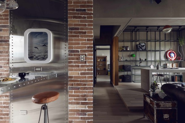 The designer's took inspiration from an airplane for the unique dining area.