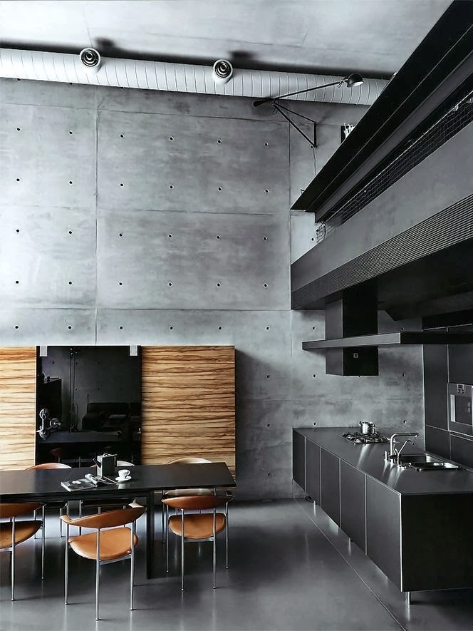 concrete accent wall interior design ideas