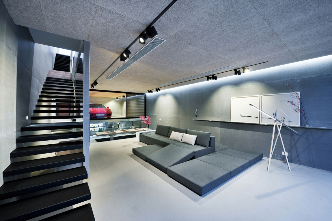 Convertible Sofa - Modern remodel in hong kong with a ferrari as focus