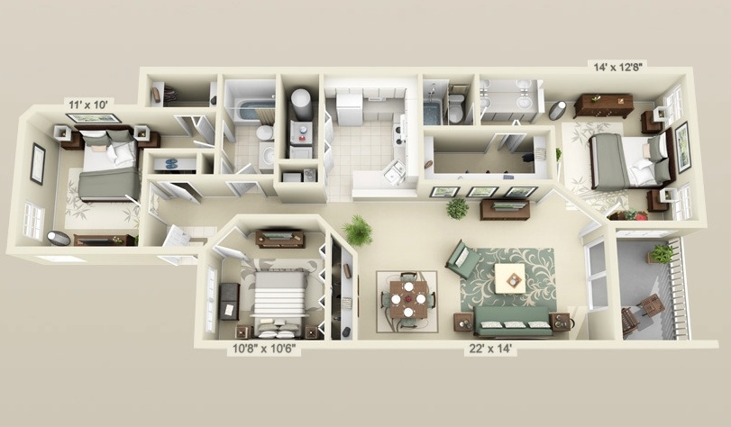 Cool 3 bedroom 3d plans interior design ideas for 3 bedroom flat interior decoration