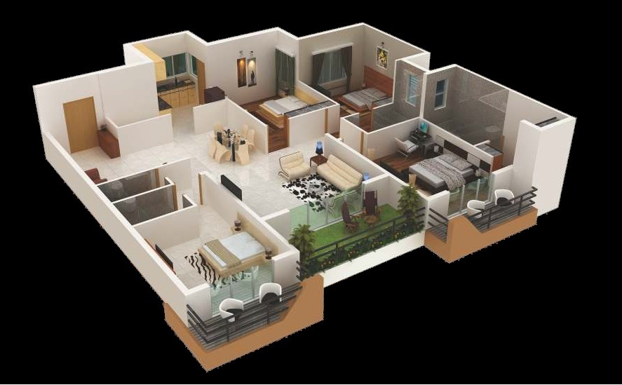 4 bedroom apartment house plans for Creative home plans