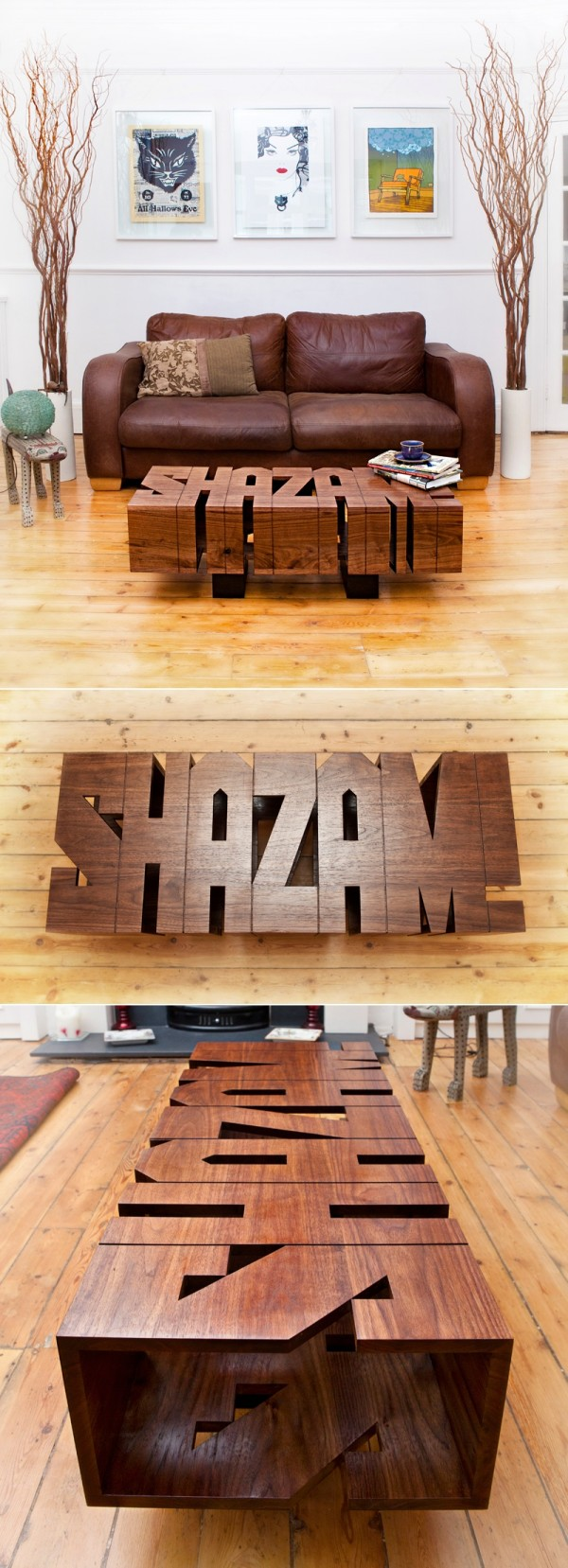 Or create your own custom coffee table message, like this unique option that just says SHAZAM