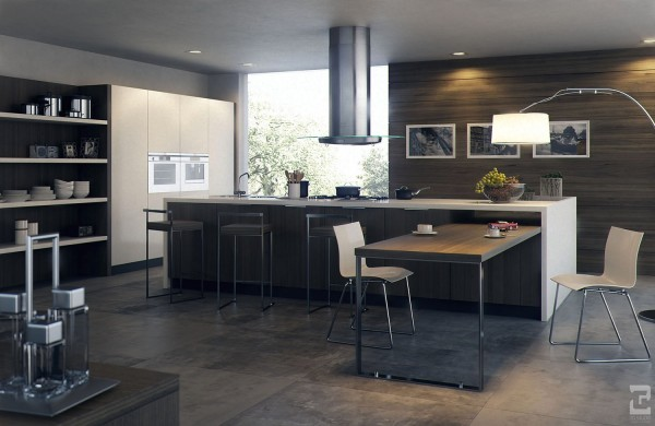 A perfectly framed window lets light into this otherwise dark kitchen, making it seem bigger, brighter, and more comfortable.