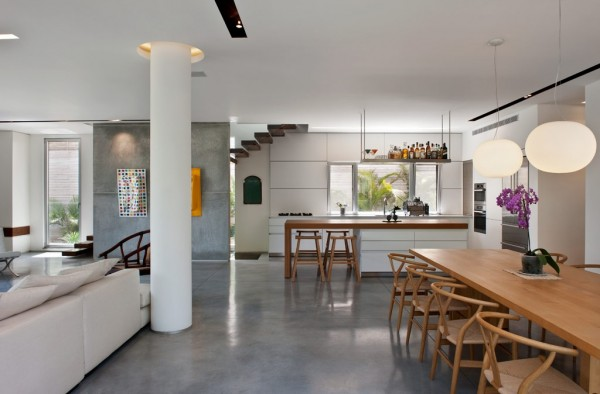 Concrete flooring gives the home a distinctly urban flavor.
