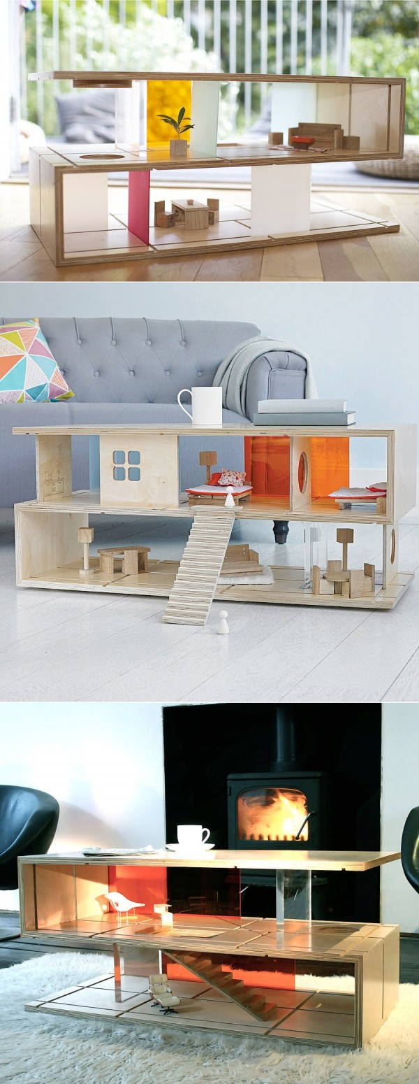 The living room can be a space where both children and adults gather. By turning a useful, modern coffee table into an element that doubles as a doll house for the children, design needn't be compromised for the sake of the kids.