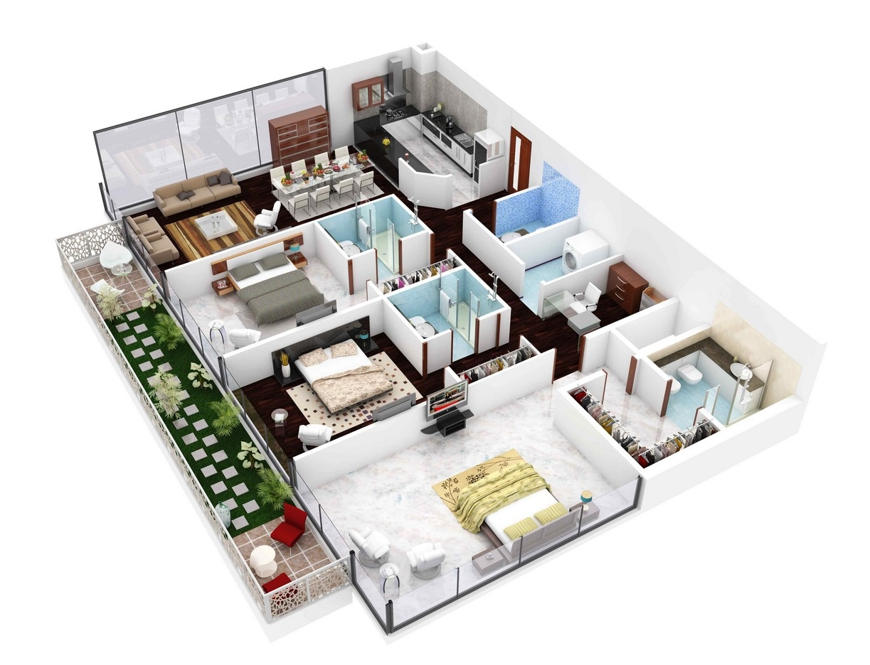 3 bedroom apartment house plans for Plans en 3d