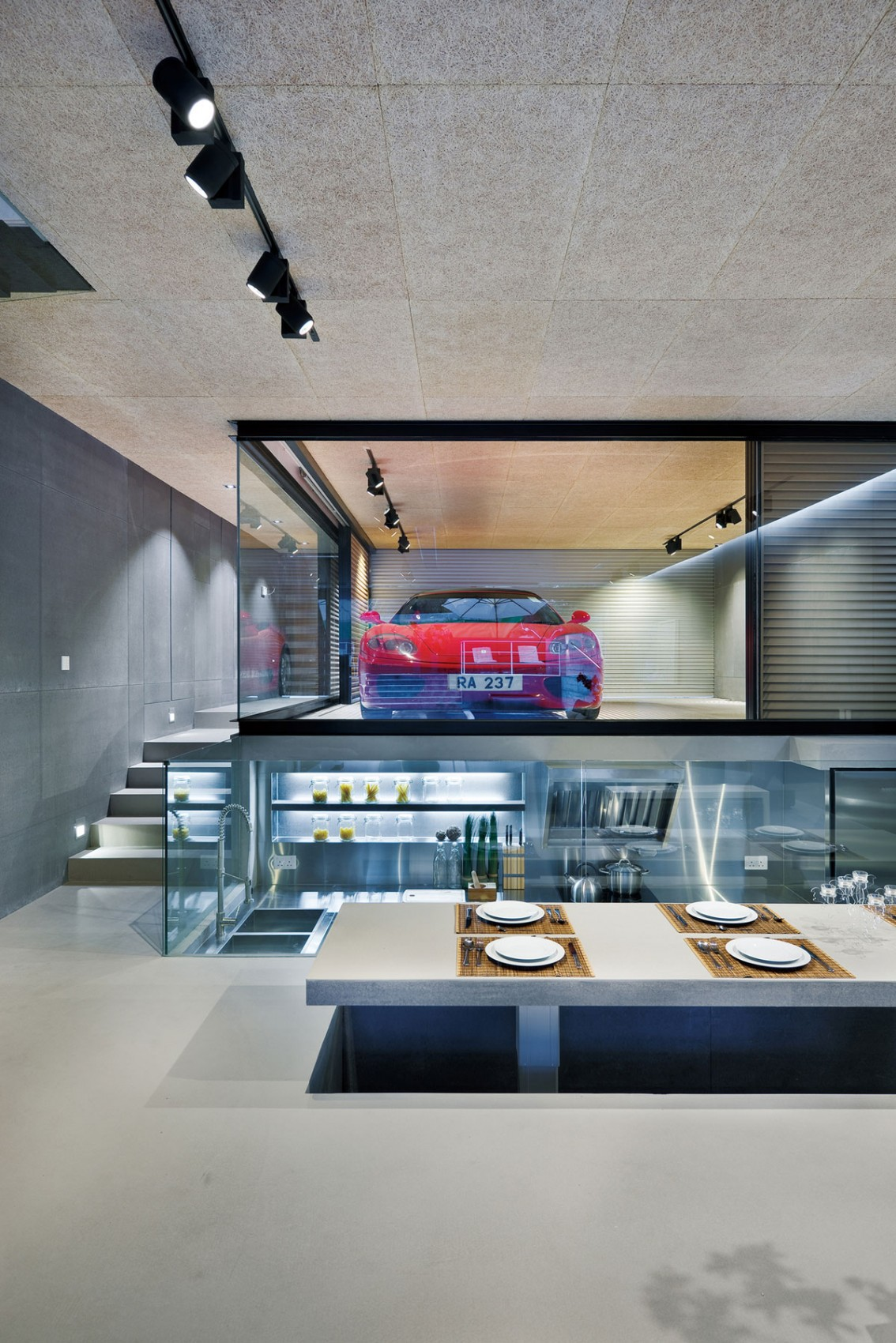 Elevated Dining Table - Modern remodel in hong kong with a ferrari as focus