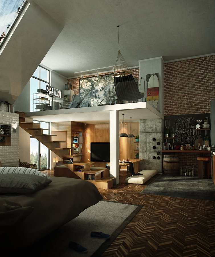 Loft design inspiration for Interior design inspiration industrial