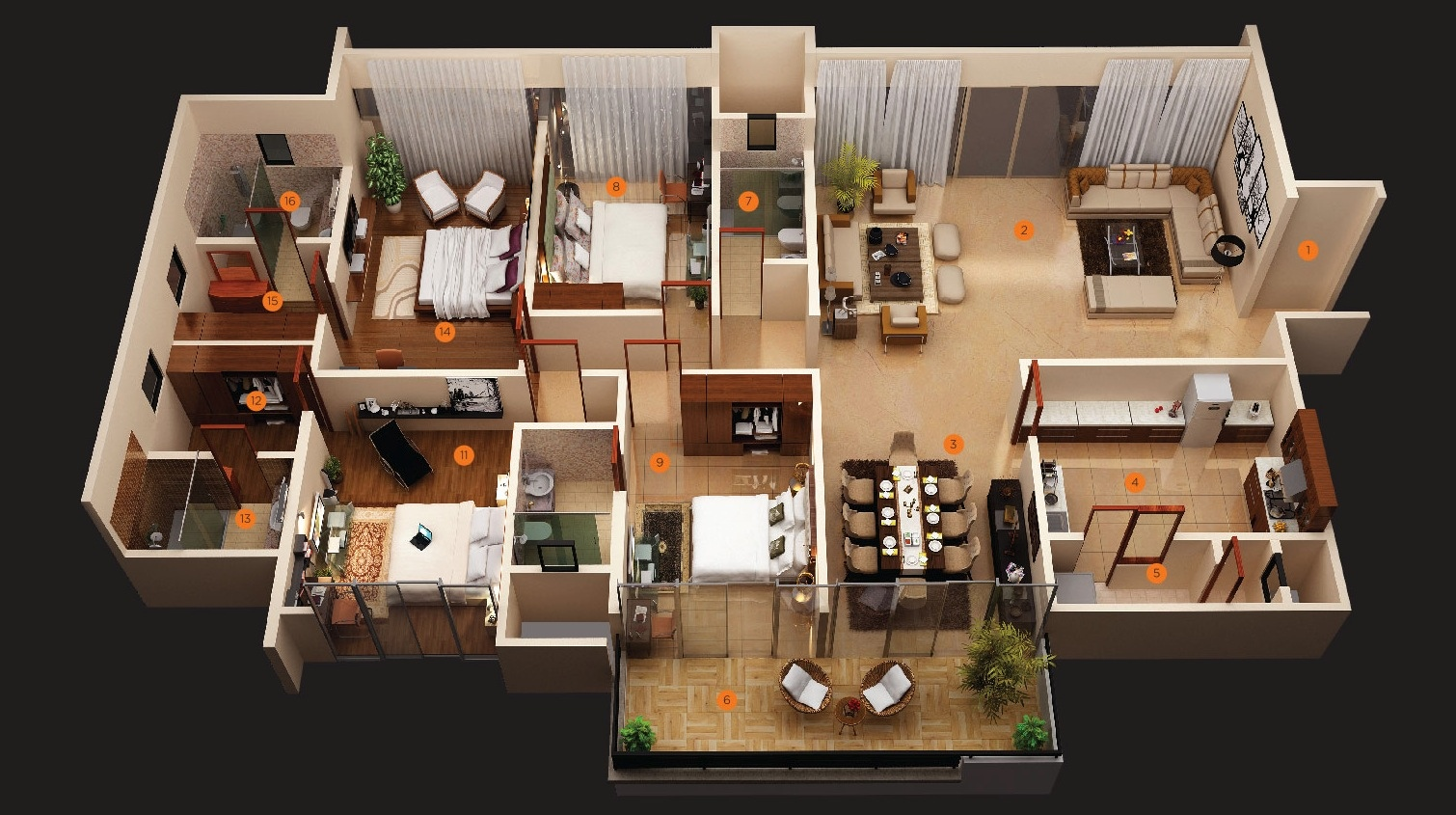 4 bedroom apartment house plans for Plan 3d