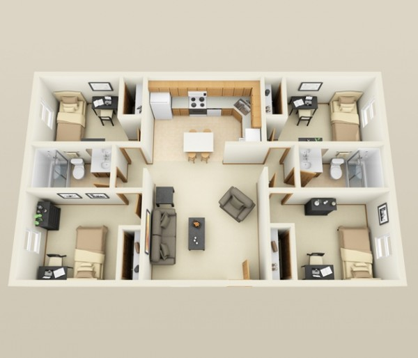 This apartment from First Site Apartments proves that you do not need a lot of space in order to have four bedrooms. Although, you may need to downsize the beds.