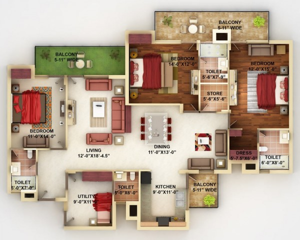 This home plan from DNA Realtors makes good use of every square inch, managing to include three separate balconies along with three large bedrooms and a smaller guest bedroom.