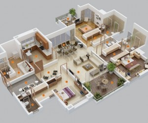 25 three bedroom house apartment floor plans for Best interior designs for 3 bhk flats